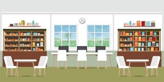 Modern library interior with bookshelves. Modern library interior with bookshelves,wooden desks, office chairs and computers, vector illustration vector illustration