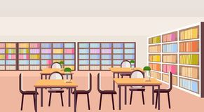 Modern library study area bookshelves with books empty no people reading room interior workplace desks education. Knowledge concept flat horizontal vector stock illustration