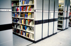 Modern library. In a university campus. Automatic shelves will improve space usage Royalty Free Stock Images