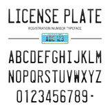 Modern License Plate font for registration numbers, with sample design isolated on background Royalty Free Stock Image