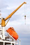 Modern lifeboat. Lifeboat ready for rescue on ship back Royalty Free Stock Photos