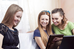 Modern Lifesrtyle Concept. Portrait of Three Young Happy Laughin Stock Image