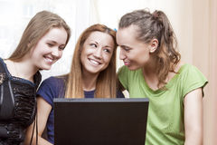 Modern Lifestyle Concept. Three Happy and Laughing Caucasian Gir Royalty Free Stock Photo