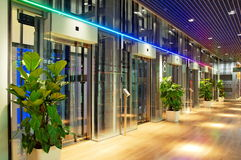 Modern lift lobby. Glass lift lobby in a modern shopping center Stock Photography