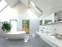 Modern light bright bathroom interior Stock Images