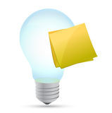 Modern light bulb with stick note Stock Photos
