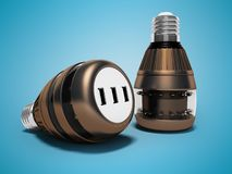 Modern light bulbs with connecting usb 3d render on blue background with shadow vector illustration