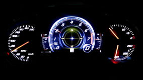 Modern light car mileage on black background MPH