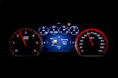 Modern light car mileage on black background Oil life. Modern light car mileage dashboard, milage  on a black background. New display of a modern car. Oil life Royalty Free Stock Photos