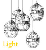 Modern light chandelier hand drawing vector. Royalty Free Stock Images