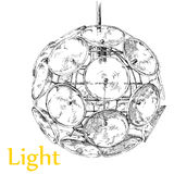 Modern light chandelier hand drawing vector. Royalty Free Stock Image