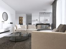 Modern Light Contemporary Living Room With Large Corner Sofa And Dining Area. Console With A Mirror, TV Unit, Coffee And Side Royalty Free Stock Image