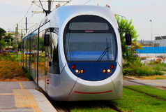 Modern light electric tram on the move Royalty Free Stock Image
