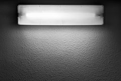 Modern light with fluorescent tube lamp. Mounted on gray wall royalty free stock photos