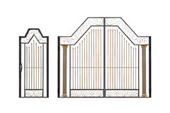 Modern light  forged  decorative gates and wicket. Stock Photography