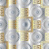Modern light geometric seamless pattern. Vector  meander backgro. Und. 3d wallpaper with greek key ornaments. Ornamental floral design. Abstract surface 3d Stock Photo