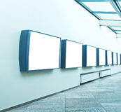 Modern light hall. With empty placards on the wall Royalty Free Stock Photography