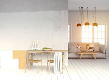 Modern light interior, a place for study, consisting of working Royalty Free Stock Photos