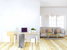 Modern light interior, a place for study, consisting of working Royalty Free Stock Photography