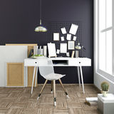 Modern light interior, a place for study, consisting of working Royalty Free Stock Image