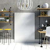 Modern light interior in the style loft, a place for study, cons Royalty Free Stock Photo