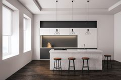 Modern light kitchen interior. With furniture and equipment. Style and design concept. 3D Rendering Stock Images