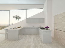 Modern light kitchen interior with stone floor. Image of Modern light kitchen interior with stone floor Stock Image