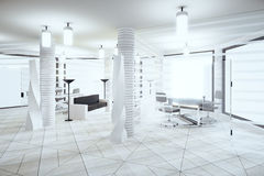 Modern light loft office in white colors with windows in floor a Royalty Free Stock Photos