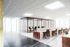 Modern light open space office with conference room Royalty Free Stock Images