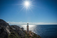 Modern lighthouse at the most southern point of greek mainland Royalty Free Stock Photos