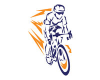 Modern Lightning Speed Cyclist In Action Silhouette Logo. Passionate On Fire Cyclist In Action Royalty Free Stock Photos