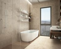 Modern limestone bathroom, bathtub and shower, shelves with bottles, big panoramic window. Modern limestone bathroom, bathtub and shower, shelves with bottles stock photos
