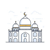 Modern line art Islamic Mosque building. White background, Modern Mosque. Icon illustration Royalty Free Stock Photography