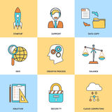 Modern line icons set. In flat design for social media, e-business, web site development, mobile applications, banners, corporate brochures, book covers Stock Image