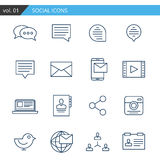 Modern line icons set of social. Premium quality vector. Stock Photos