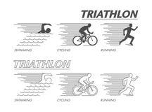 Modern line logo triathlon. Flat black logo triathlon. Stock Photography