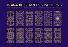 12 Modern line traditional arabic pattern. Background design. Ideal for wall decoration, printables and wrapping paper design stock illustration