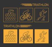 Modern line triathlon symbol. Royalty Free Stock Photo