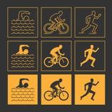Modern line triathlon symbol. Royalty Free Stock Image