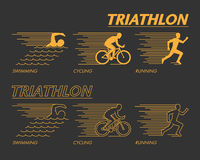 Modern line triathlon symbol. Stock Photos