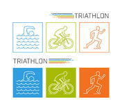 Modern line triathlon symbol. Stock Photos