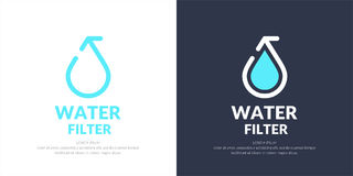 Modern line vector logo of the water drop. Modern line vector logo of the water filter. Illustration in a minimalistic style Stock Photography