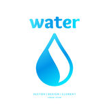 Modern line vector logo of the water drop. Illustration in a minimalistic style Stock Photography