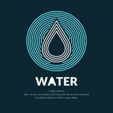 Modern line vector logo of the water drop. Illustration in a minimalistic style on a dark background Stock Image