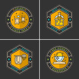 Modern linear emblem for beekeepers. The stickers on the products of the apiary. A set of stylish logos vector bee honey stock illustration