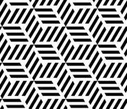 MODERN GEOMERTIC LINEAR SEAMLESS VECTOR PATTERN. MONOCHROME STRIPED RHOMBUS. OP ART DESIGN stock illustration