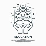 Modern linear illustration on the theme of Education. Vector graphics Stock Photography