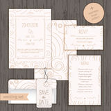 Modern linear wedding invitation card design set Stock Photos