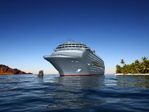 A modern liner. Is in an ocean Royalty Free Stock Images