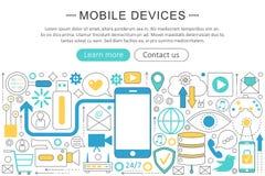 Modern linje lägenhetdesignmobila enheter, grejbegrepp för vektor Smart mobil titelrad för Website för grejteknologisymboler stock illustrationer
